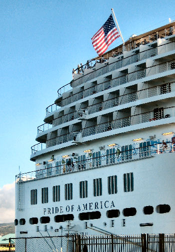 Pride of America Cruise Ship flies the American Flag